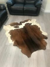 Large Natural CowHide Rug Leather Skin Decor Brown & White Color 5.5x5 FEET