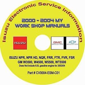 2000-2004 Isuzu NPR HD NQR NRR GMC W3500-5500 Truck w/4.8L Diesel Repair Manual