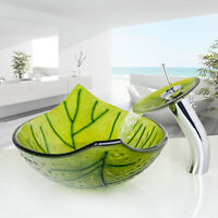 Green Leaf Bathroom Tempered Glass Vessel Basin Sink With Waterfall Taps Set