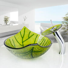 Bathroom Green Leaf Tempered Glass Vessel Basin Sink With Waterfall Taps Sets