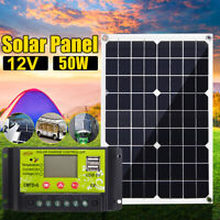 50W 12V/5V Dual USB Solar Panel Battery Charger RV Car Boat +10-40A Controller 1