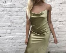 Topshop Green Long Satin Slip Dress Petite Size 6 WORN ONCE. RRP£35