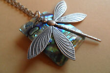 Dragonfly and Abalone/Paua Shell Long Necklace Each Unique