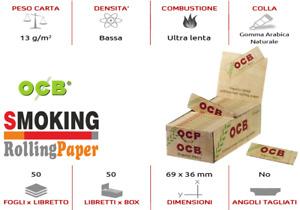 1Χ BOX  OCB Organic Hemd Corte In Canapa Cartine Biologica Box Da 50 Libretti