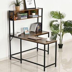 L-Shaped Computer Table Desk Particle Board Industrial Desk w Shelf Brown