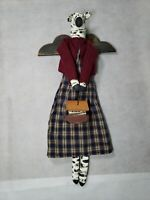Calico Harvest Primitive Folk Art Zebra Doll Holding Noah's Ark Coshocton Ohio