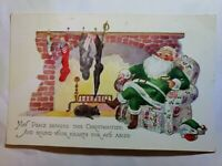 JOLLY Santa Claus in GREEN suit Fireplace Black Cat Christmas Tide Postcard
