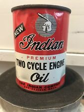 Vintage Original INDIAN MOTORCYCLE OIL Full CAN Two-Stroke Springfield Mass