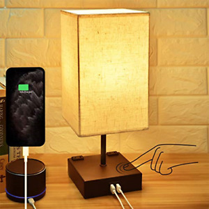 3-Way Touch Control Dimmable Bedside Lamp,Hansang Modern Table Lamp with 2 USB