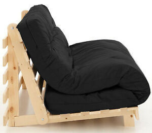 NEW LITTLEWOODS SINGLE SEAT BLACK FUTON BED SOLID PINE WOOD FRAME
