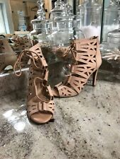 JESSICA SIMPSON – High Heel Leather Gladiator Sandals Nude 7 Cutout Lace Up