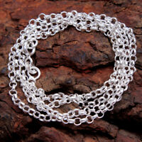 Unisex Link necklace silver Twister chain 925 Sterling Silver jewelry 18, 20,22""
