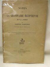 égyptologie  GASTON MASPERO - NOTES SUR LA GRAMMAIRE EGYPTIENNE de M.A. ERMAN