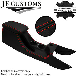 RED STITCH LEATHER CENTRE CONSOLE + ARMREST COVERS FOR JAGUAR X-TYPE 01-09