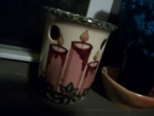 vintage christmas ceramic tart warmer, candle design. beautiful old pc.