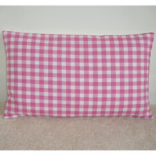 """16""""x12"""" Oblong Bolster Cushion Cover Pink Gingham Check Nursery 12x16"""
