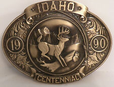 """IDAHO Centennial (1890-1990) Bronze Belt Buckle """"WHITETAIL DEER"""" LE# 200 / 5000"""