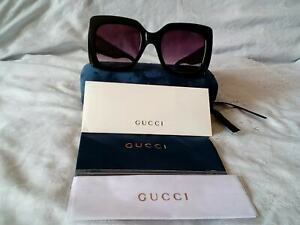 AUTHENTIC GUCCI OVERSIZED SQUARE SHINNY BLACK  EYEGLASSES WITH HARD CASE