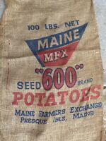 "Vintage 100 Lb Burlap Bag Maine ""600"" potatoes Presque Isle ME"