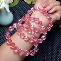 12mm Cut Faceted Natural Pink Rose Quartz Crystal Gems Beads Diamond Bracelet