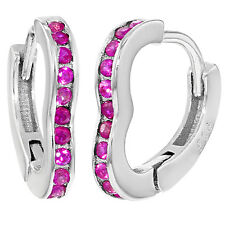 925 Sterling Silver Hot Pink CZ Small Heart Hoop Baby Girls Earrings 0.39""