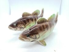 """Vintage Vcagco PY Small Mouth Bass Salt And Pepper Shaker Set Japan 4.5"""""""