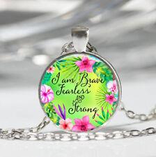 Phrase Tibet silver Dome Glass Cabochon Necklace chain Pendant