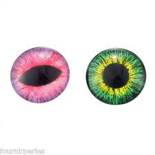 10 Mixte Cabochons Verre Oeil Motif Multicolore Ronde Pour Support 12mm