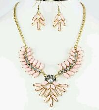 Pink Deco Marquise Rhinestone  Necklace and Earring Set - very pretty