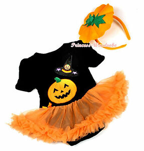 Halloween Black Witch Hat Pumpkin Jumpsuit Romper Orange Baby Girl Dress NB-18M