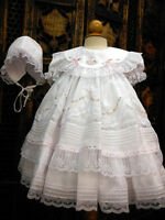 NWT Will'beth White Fancy Lace Dress 3p Set Newborn Bonnet Bloomers Baby Girl 0