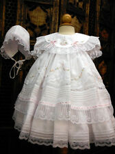 NWT Will'beth White Fancy Lace Dress 3pc Set Newborn Bonnet & Bloomers Baby Girl