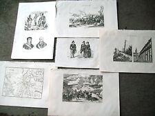 1836 LOTTO DI 6 INCISIONI SU PRESENZA NAPOLEONICA A SOMOSIERRA, OCANA, SEGOVIA..
