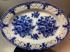 Basic Porcelana Blue White Oval Plate