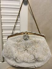 French Made Beaded Glass Beaded Pearl/Gold Floral Evening Bag w/Coin Purse