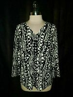 CHICO'S Size 2 12 14 L Shirt Top Black White 3/4th Sleeve USA