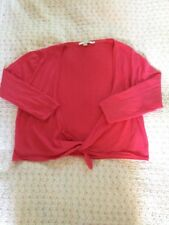 Soft BODEN Pure Wool Tie Up Cropped Cardigan Shrug-sz 14 Coral Pink Hardly Worn