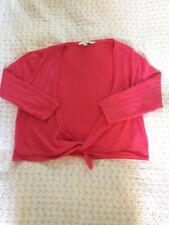 Boden Suave Lana Pura tie up Cropped Cardigan Bolero-Talla 14 Rosa Coral apenas usado