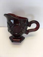 Avon 1876 Ruby Red Cape Cod Creamer Pitcher Sugar Bowl Set Vintage Collectible