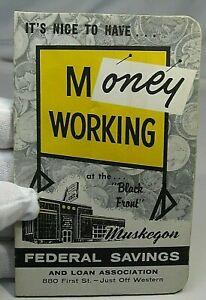 Vintage BANK DIME SAVING Book. Full w/ 30 Silver Dimes. Muskegon Federal , MI*