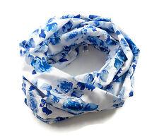 Damen-Rundschal Rosen blau-weiß  ca. 25 cm x 140 cm
