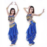 New Belly Dance Costume Set Top Gold Wavy Harem Pants Hip scarf Belt