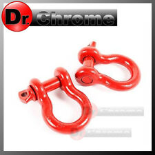 """1 Pair 3/4"""" RED 4.75 Ton D-Ring Bow Shackle Heavy Duty for 4x4 ATV RV Bumper"""