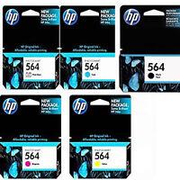 5 Pack Genuine HP 564 Black Cyan Magenta Yellow Photo Ink Cartridges