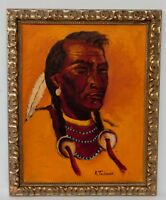 """Framed Oil on Board Signed """"R TAUBMAN"""" Painting Portrait Native American Indian"""