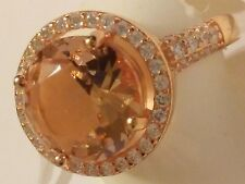 New ladies Rose Gold plated .925 Sterling Silver cocktail Ring Cz Stones Size 7