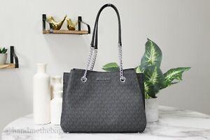 Michael Kors Teagen Large Black Signature PVC Long Drop Chain Satchel Hand Bag