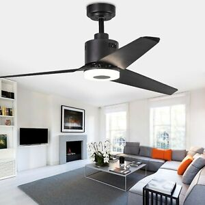 Indoor Ceiling Fan Light Fixtures With 3-Blades And Remote Switch(Black)