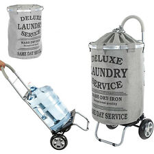 dbest products Laundry Bag Hamper Trolley Dolly with Wheels, Grey (Open Box)