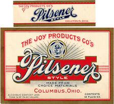 Prohibition Joy Products Co. Pilsener Style Brew Bottle Label w/neck Columbus Oh